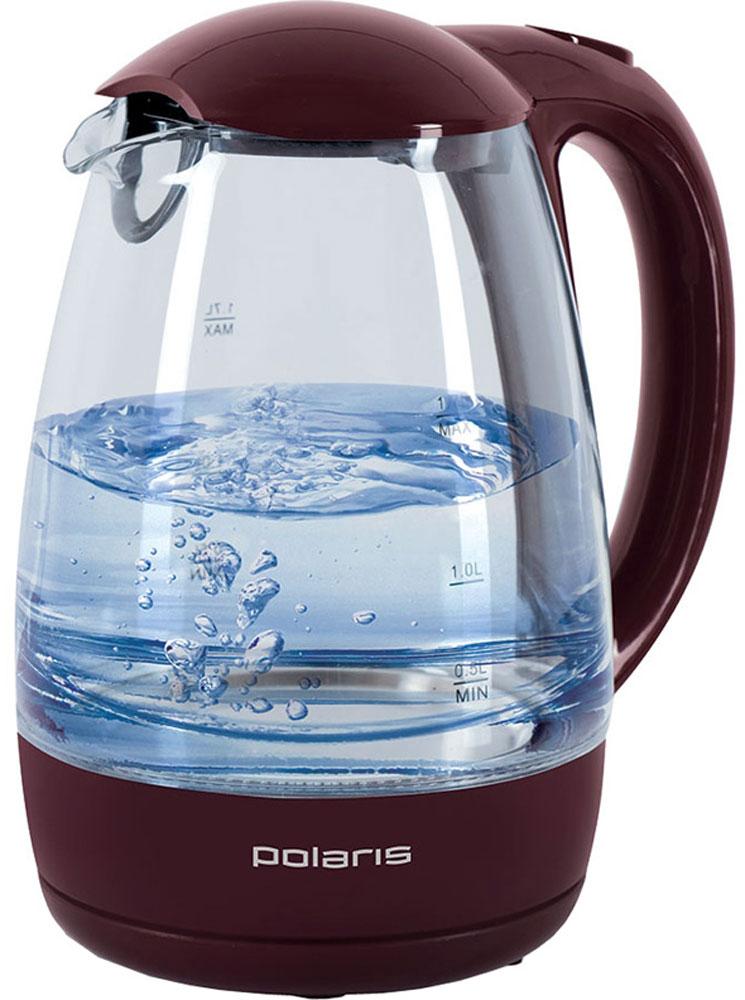 Polaris PWK 1768CGL, Vinous электрочайникPWK 1768CGLКорпус чайника Polaris PWK 1768CGL выполнен из высококачественного термостойкого стекла, сохраняющего природные свойства воды.Благодаря максимальной мощности 2200 Вт, данная модель за считанные минуты вскипятит 1,7 литра воды. Прозрачный корпус с двусторонней шкалой контроля уровня и внутренней подсветкой позволяет следить за тем, как нагревается вода. Чайник соединён с базой центральным контактом и легко вращается на 360°.Крышка чайника открывается легким нажатием. Съемный фильтр легко снимается, его можно мыть вручную или в посудомоечной машине. Нагревательный элемент встроен в плоское дно и надежно защищен стальной пластиной, что делает его чистку максимально удобной. Среди характеристик безопасности использования чайника стоит отметить автоматический и ручной выключатели, а также защиту от перегрева.
