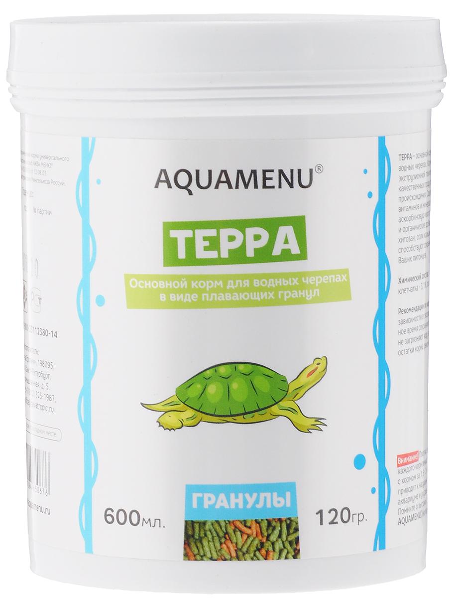 Корм Aquamenu Терра, для водных черепах, 600 мл (120 г) спб корм корм для щенка бенто кронен