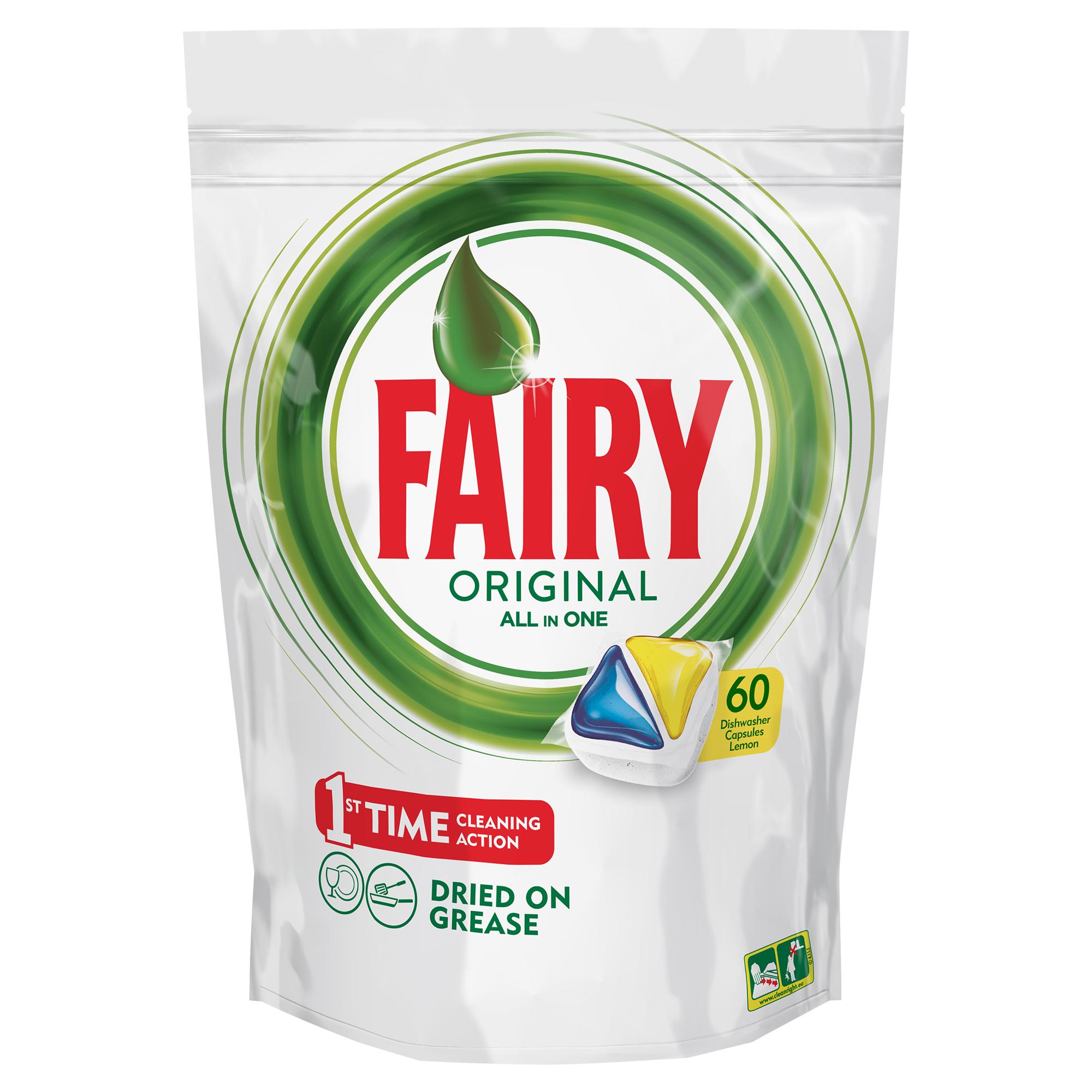 Капсулы для посудомоечной машины Fairy Original All In One, с лимоном, 60 штFR-81607023Капсулы для посудомоечной машины Fairy Original All In One идеально отмывают посуду со сложными загрязнениями с первого раза. Средство содержит гель и порошок в одной капсуле. Капсула растворяется гораздо быстрее, чем другие таблетки для посудомоечной машины, и поэтому начинает действовать немедленно. Кроме того, капсулы Fairy очень просты в использовании - просто поместите их в посудомоечную машину (не нужно распаковывать). Преимущества: - Средство справляется с засохшей пригоревшей грязью и чистит даже самые сложные загрязнения- С функцией супер сияния посуды - С добавлением соли и ополаскивателя - С защитой стекла и серебра - Сохраняет приятный запах в посудомоечной машине- С жидким моющим средством для борьбы со сложным жиром- Произведено и протестировано для использования во всех посудомоечных машинах- Готовы к использованию- Не нужно разворачивать - 1 капсула = 1 загрузкаПоместите капсулу в отсек для моющего средства и сразу закройте. Брать капсулу только сухими руками. Не разворачивайте и не прокалывайте капсулу. Закрывайте пакет после каждого использования.Товар сертифицирован. Как выбрать качественную бытовую химию, безопасную для природы и людей. Статья OZON Гид