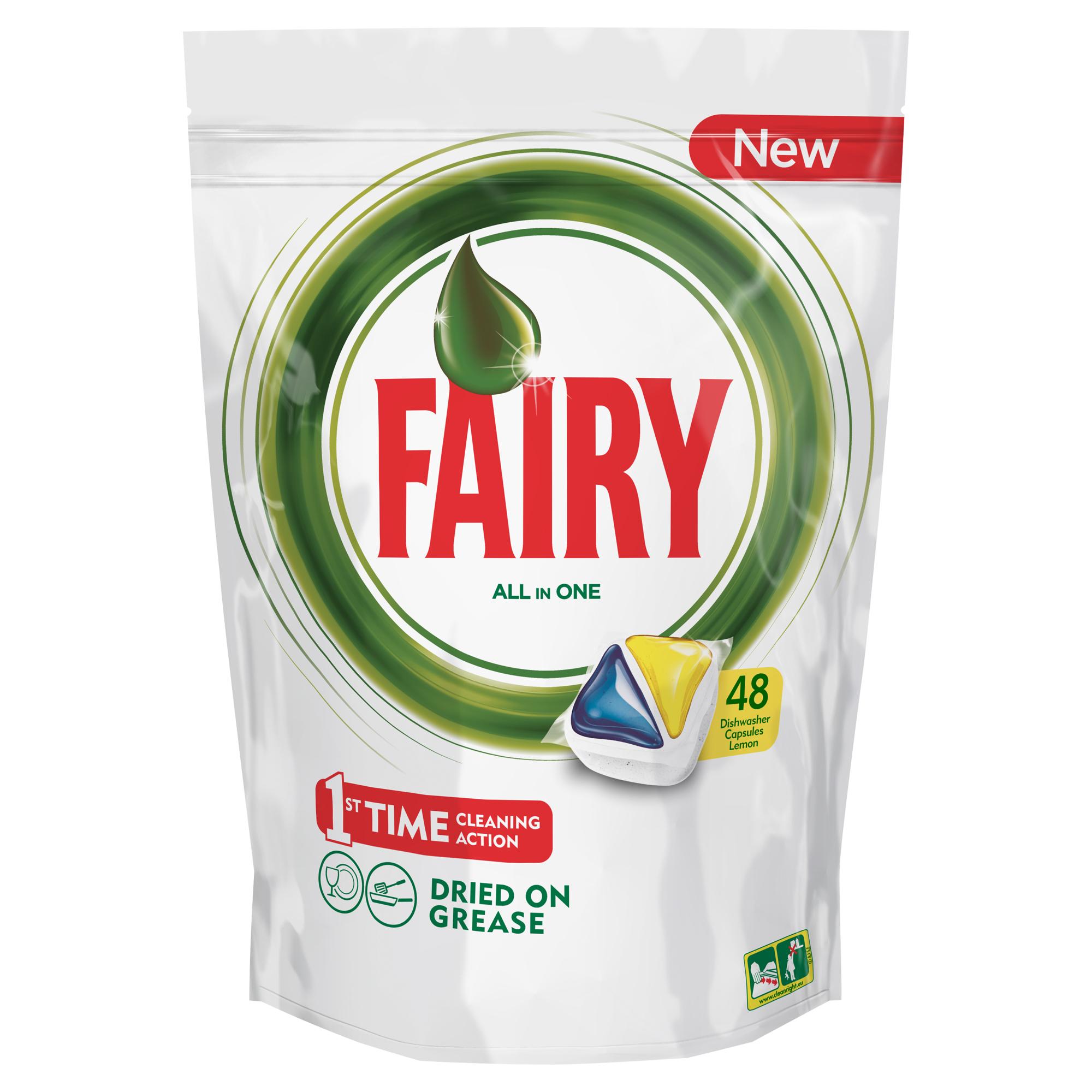 Капсулы для посудомоечной машины Fairy Original All In One, с лимоном, 48 штFR-81607021Капсулы для посудомоечной машины Fairy Original All In One идеально отмывают посуду со сложными загрязнениями с первого раза. Средство содержит гель и порошок в одной капсуле. Капсула растворяется гораздо быстрее, чем другие таблетки для посудомоечной машины, и поэтому начинает действовать немедленно. Кроме того, капсулы Fairy очень просты в использовании – просто поместите их в посудомоечную машину (не нужно распаковывать). Преимущества: - Средство справляется с засохшей пригоревшей грязью и чистит даже самые сложные загрязнения- С функцией супер сияния посуды - С добавлением соли и ополаскивателя - С защитой стекла и серебра - Сохраняет приятный запах в посудомоечной машине- С жидким моющим средством для борьбы со сложным жиром- Произведено и протестировано для использования во всех посудомоечных машинах- Готовы к использованию- Не нужно разворачивать - 1 капсула = 1 загрузкаПоместите капсулу в отсек для моющего средства и сразу закройте. Брать капсулу только сухими руками. Не разворачивайте и не прокалывайте капсулу. Закрывайте пакет после каждого использования.Товар сертифицирован.