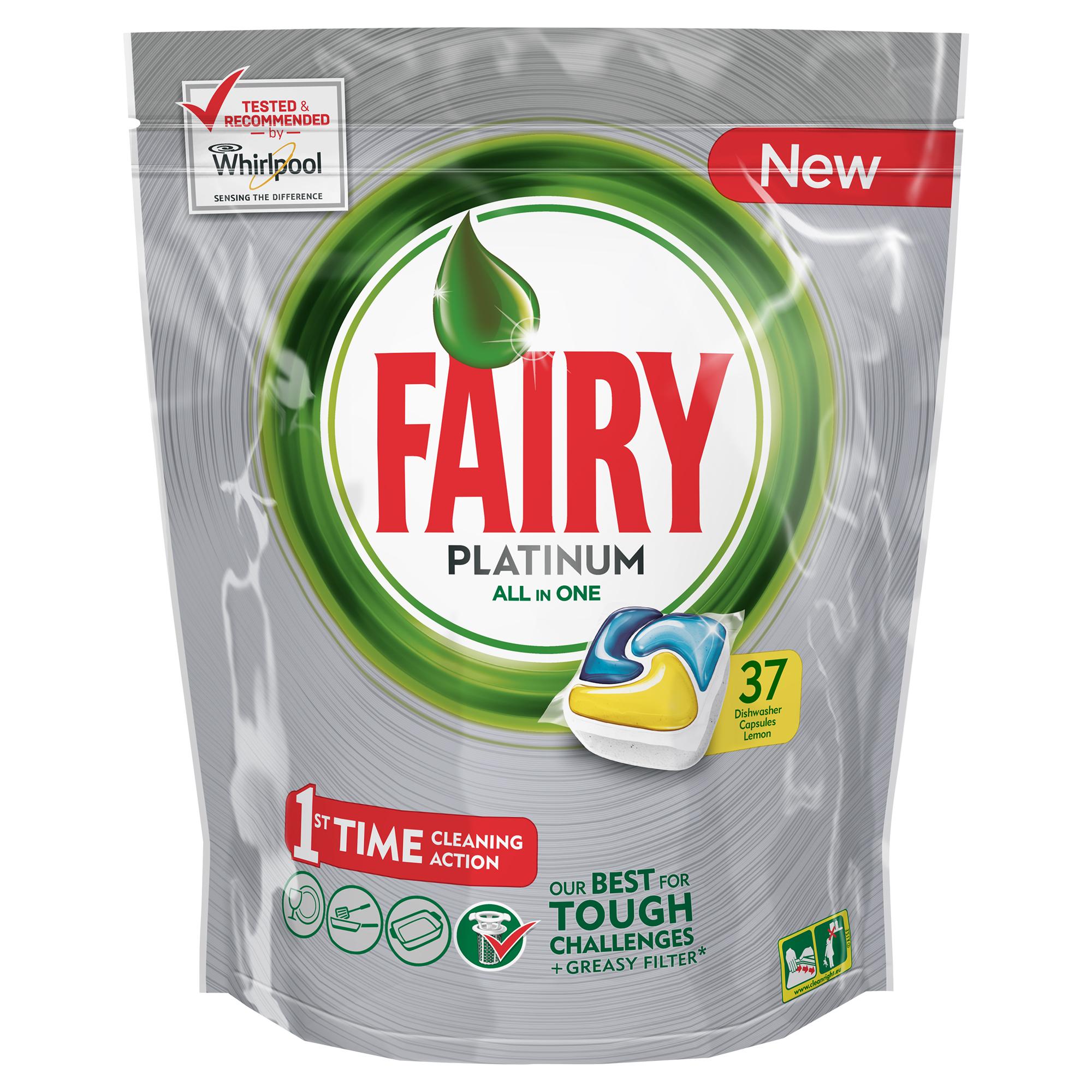 Капсулы для посудомоечной машины Fairy Platinum All in One, с лимоном, 37 штFR-81607016Капсулы для посудомоечной машины Fairy Platinum All in One идеально отмоют посуду с первого раза и безупречно справятся с любыми сложными загрязнениями - от засохшего и пригоревшего жира до пятен от чая. Ваша посуда будет сиять благодаря специальной формуле с усилителем блеска. Теперь вы можете готовить, что угодно, и быть уверенным, что ваша машинка с легкостью справится с грязной посудой. Капсула растворяется гораздо быстрее, чем другие таблетки для посудомоечной машины, и начинает действовать немедленно. Кроме того, капсулы Fairy очень просты в использовании - просто поместите их в посудомоечную машину (не нужно распаковывать). Преимущества: - Средство справляется с засохшей и пригоревшей грязью - Настолько сильное, что очистит даже фильтр от посудомоечной машины- С функцией супер сияния посуды - С добавлением соли и ополаскивателя - С защитой стекла и серебра - Сохраняет приятный запах в посудомоечной машине- Помогает предотвратить накопление жира на фильтре, системе спуска воды и разбрызгивателе- Произведено и протестировано для использования во всех посудомоечных машинах- Капсулы готовы к использованию- Не нужно разворачивать - 1 капсула = 1 загрузкаПоместите капсулу в отсек для моющего средства и сразу закройте. Брать капсулу только сухими руками. Не разворачивайте и не прокалывайте капсулу. Закрывайте пакет после каждого использования. Товар сертифицирован.