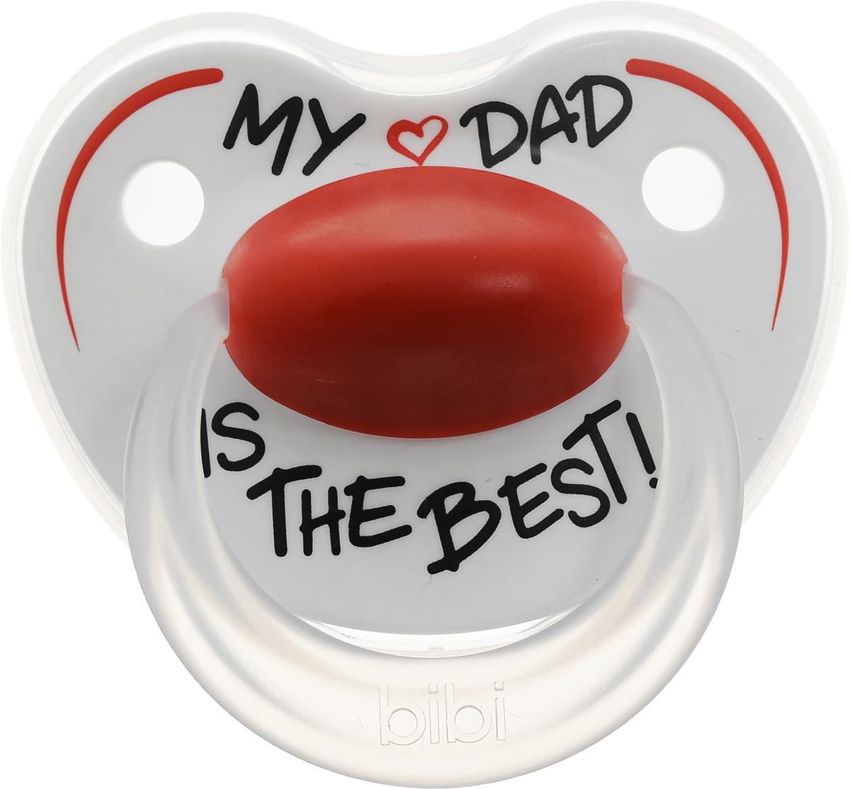 Bibi Пустышка силиконовая ортодонтическая Happiness My Dad is the Best от 0 до 6 месяцев happiness basics толстовка