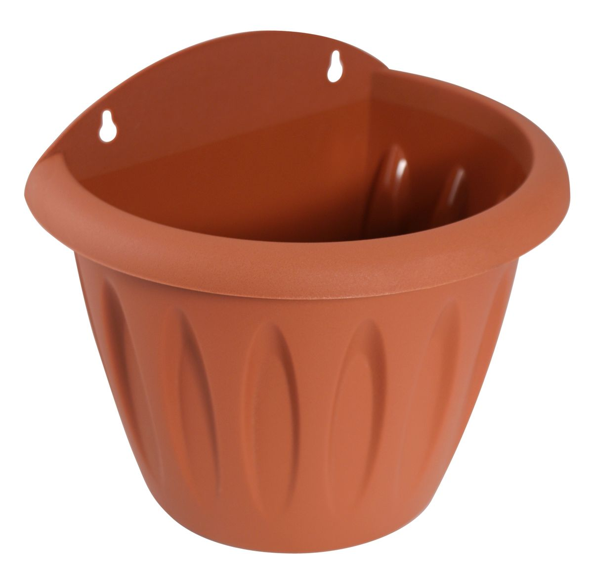 """Любой, даже самый современный и продуманный интерьер будет не завершенным без растений. Они не только очищают воздух и насыщают его кислородом, но и заметно украшают окружающее пространство. Такому полезному члену семьи просто необходимо красивое и функциональное кашпо, оригинальный горшок или необычная ваза! Мы предлагаем - Кашпо настенное d=16 см """"Фелиция"""", цвет терракот! Оптимальный выбор материала - это пластмасса! Почему мы так считаем? Малый вес. С легкостью переносите горшки и кашпо с места на место, ставьте их на столики или полки, подвешивайте под потолок, не беспокоясь о нагрузке. Простота ухода. Пластиковые изделия не нуждаются в специальных условиях хранения. Их легко чистить достаточно просто сполоснуть теплой водой. Никаких царапин. Пластиковые кашпо не царапают и не загрязняют поверхности, на которых стоят. Пластик дольше хранит влагу, а значит растение реже нуждается в поливе. Пластмасса не пропускает воздух корневой системе растения не грозят резкие перепады температур. Огромный выбор форм, декора и расцветок вы без труда подберете что-то, что идеально впишется в уже существующий интерьер. Соблюдая нехитрые правила ухода, вы можете заметно продлить срок службы горшков, вазонов и кашпо из пластика: всегда учитывайте размер кроны и корневой системы растения (при разрастании большое растение способно повредить маленький горшок) берегите изделие от воздействия прямых солнечных лучей, чтобы кашпо и горшки не выцветали держите кашпо и горшки из пластика подальше от нагревающихся поверхностей. Создавайте прекрасные цветочные композиции, выращивайте рассаду или необычные растения, а низкие цены позволят вам не ограничивать себя в выборе."""