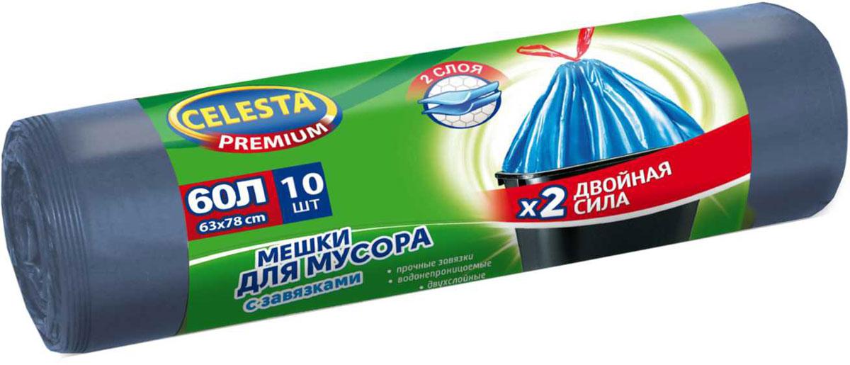 Мешки для мусора Celesta, с завязками, 60 л, 10 шт4481Мешки для мусора Celesta изготовлены из первичного сырья, имеют высокое качество, при проколе мешок не рвется и не расползается. Мешки для мусора изготовлены из ПНД. Для удобства использования мешки оснащены специальными завязками, это позволяет изолировать неприятный запах и с удобством переносить пакет.