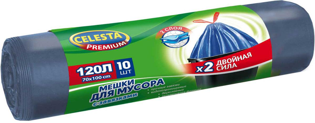 Мешки для мусора Celesta, с завязками, 120 л, 10 шт4500Мешки для мусора Celesta изготовлены из первичного сырья, имеют высокое качество, при проколе мешок не рвется и не расползается. Мешки для мусора изготовлены из ПНД. Для удобства использования мешки оснащены специальными завязками, это позволяет изолировать неприятный запах и с удобством переносить пакет.