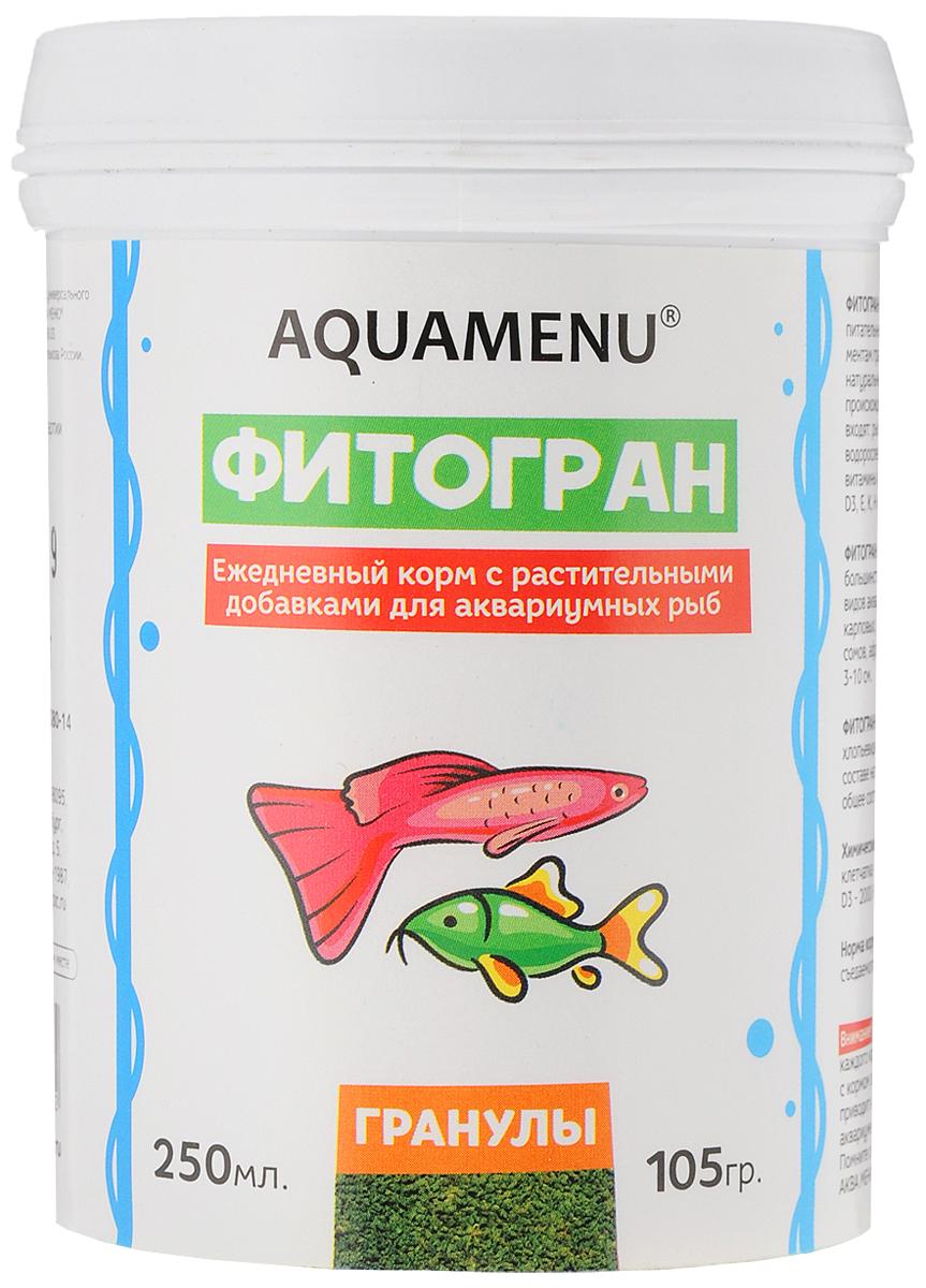 Корм Aquamenu Фитогран для аквариумных рыб, с растительными добавками, 250 мл (105 г)00000001149Aquamenu Фитогран - сбалансированный по всем основным питательным веществам, витаминам и микроэлементам гранулированный корм. Производится из натуральных продуктов животного и растительного происхождения методом экструзии. Aquamenu Фитогран предназначен для ежедневного кормления большинства преимущественно растительноядных видов аквариумных рыб: живородящих, карпозубых, карповых, многих харациновых, лабиринтовых, сомов, африканских цихлид и других рыб длиною 3-10 см.Состав: рыбная, пшеничная, соевая, травяная и водорослевая мука, крапива, микроэлементы, витамины A, B1, B2, B3, B4, B5, B6, B7, B8, B12, C, D3, E, K, Н и специальные добавки.Товар сертифицирован.