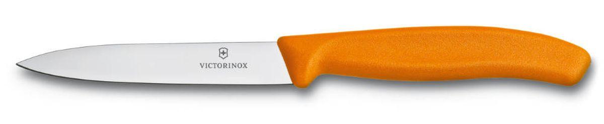 Нож для овощей Victorinox SwissClassic, цвет: оранжевый, длина лезвия 10 см6.7706.L119Ножи для дома серии SwissClassic поистине достойны своего названия, они стали неотъемлемой частью серии Victorinox. Благодаря эргономичным противоскользящим рукоятям ножи удобно держать в руках, их можно мыть в посудомоечных машинах. Серия SwissClassic богата выбором форм лезвий и режущих кромок, который обеспечит вас подходящим инструментом для всех видов работ по приготовлению пищи: резки, рубки, нарезки в форме кубиков, очистки и декоративной нарезки форм.Серия SwissClassic - это залог успешного решения всех домашних задач у вас на кухне.