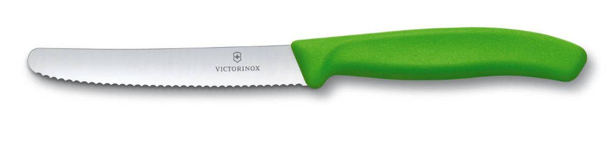 Нож для томатов и сосисок Victorinox SwissClassic, цвет: зеленый, длина лезвия 11 см6.7836.L114Нож Victorinox SwissClassic идеально сбалансирован, чтобы обеспечить точную и легкую нарезку продуктов. Благодаря тщательно подобранным материалам нож легко использовать, легко мыть и легко хранить. Зубчатое лезвие ножа, выполненное из высококачественной стали, идеально подходит для нарезания томатов и сосисок. Удобная ручка из полипропилена с гладким покрытием обеспечивает надежный хват. Общая длина ножа: 21,8 см.