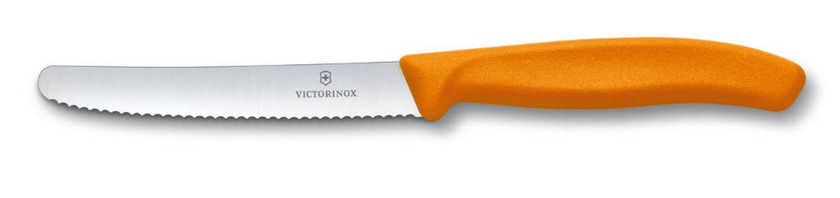 Нож для томатов и сосисок Victorinox SwissClassic, цвет: оранжевый, длина лезвия 11 см6.7836.L119Нож Victorinox SwissClassic идеально сбалансирован, чтобы обеспечить точную и легкую нарезку продуктов. Благодаря тщательно подобранным материалам нож легко использовать, легко мыть и легко хранить. Зубчатое лезвие ножа, выполненное из высококачественной стали, идеально подходит для нарезания томатов и сосисок. Удобная ручка из полипропилена с гладким покрытием обеспечивает надежный хват. Общая длина ножа: 21,8 см.