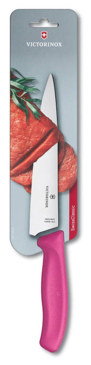Нож разделочный Victorinox SwissClassic, цвет: розовый, длина лезвия 19 см6.8006.19L5BРазделочный нож Victorinox SwissClassic - незаменимый помощник на вашей кухне. Лезвие изготовлено из высококачественной стали. Стальные лезвия более стойкие к воздействию кислот, содержащихся в продуктах, они более гигиеничны и не подвержены коррозии. Легкая, отлично сбалансированная и приятная на ощупь рукоятка удобна в использовании. Такой нож прекрасно подходит для нарезания мяса, птицы и рыбы, а также позволяет выполнить ровный срез одним движением.