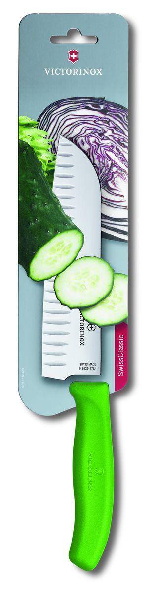 Нож сантоку Victorinox SwissClassic, цвет: зеленый, длина лезвия 17 см6.8526.17L4BНож сантоку Victorinox SwissClassic - незаменимый помощник на вашей кухне. Лезвие, изготовленное из стали, более стойкое к воздействию кислот, содержащихся в продуктах, более гигиенично и не подвержено коррозии. Кроме того, лезвие из стали сохраняет остроту дольше, чем другие ножи. Легкая, отлично сбалансированная и приятная на ощупь рукоятка удобна в использовании. Такой нож идеально подходит для измельчения, нарезки ломтиками и кубиками овощей, фруктов, рыбы и мяса.