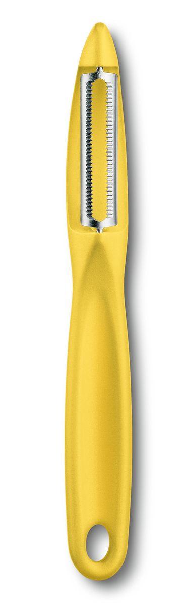 Нож для чистки овощей Victorinox, универсальный, двустороннее зубчатое лезвие, желтая рукоять7.6075.8Victorinox предлагает широкий выбор удобных кухонных принадлежностей для любых видов кулинарных работ: от разделки и измельчения до нарезки кубиками и ломтиками.Ассортимент включает большой выбор овощечисток в ярких цветах,а также других инструментов,которые в том числе поджойдутв качестве небольших подарков. Это незаменимый помошник на Вашей кухне. С помощью овощечистки Victorinox Вы сможете с лёгкостью очистить от кожуры томаты, киви, картофель, яблоки и любые другие овощи и фрукты. Рукоять овощечистки очень удобно лежит в руке, изготовлена из приятного на ощупь пластика, в руке не проскальзывает. Лезвие плавающее с зубчатой заточкой. Овощечиска Victorinox прослужит Вам долгие годы и не потеряет своей остроты!