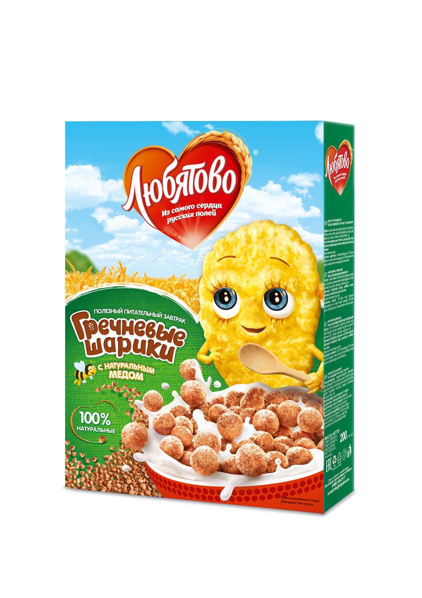 Любятово Готовый завтрак Гречневые шарики с медом, 200 г1578Овсяный завтрак для здорового питания с добавлением меда.