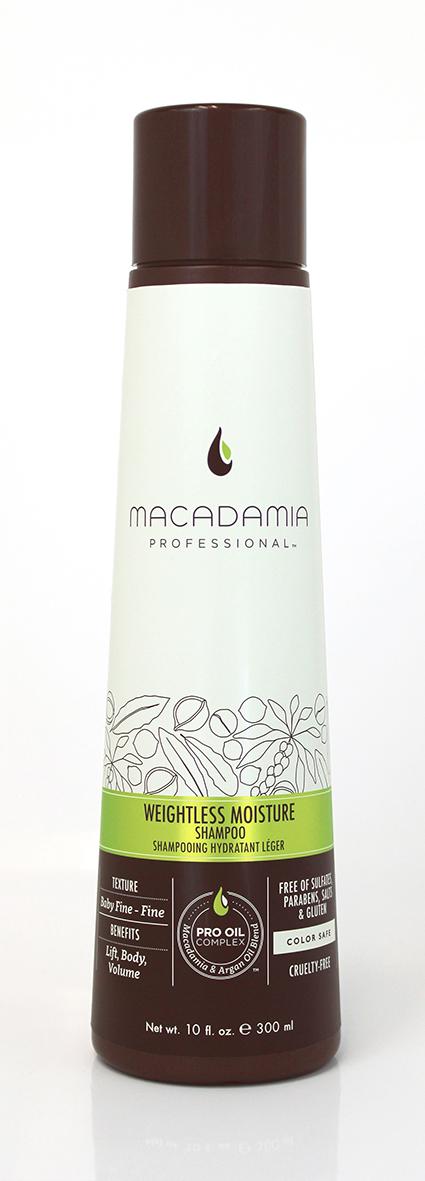 Macadamia Professional Шампунь увлажняющий для тонких волос, 300 мл100100Увлажняющий шампунь Macadamia Professional восстанавливает баланс влаги, придает плотность и объем даже самым тонким волосам. Содержит эксклюзивный Pro Oil Complex с маслами макадамии и арганы, масла авокадо и лесного ореха, которые обеспечивают увлажнение и восстановление, увеличивают плотность тонких волос, питают кожу головы.Содержит UVA/UVB фильтры, сохраняет цвет окрашенных волос. Защищает от воздействия неблагоприятных факторов окружающей среды.