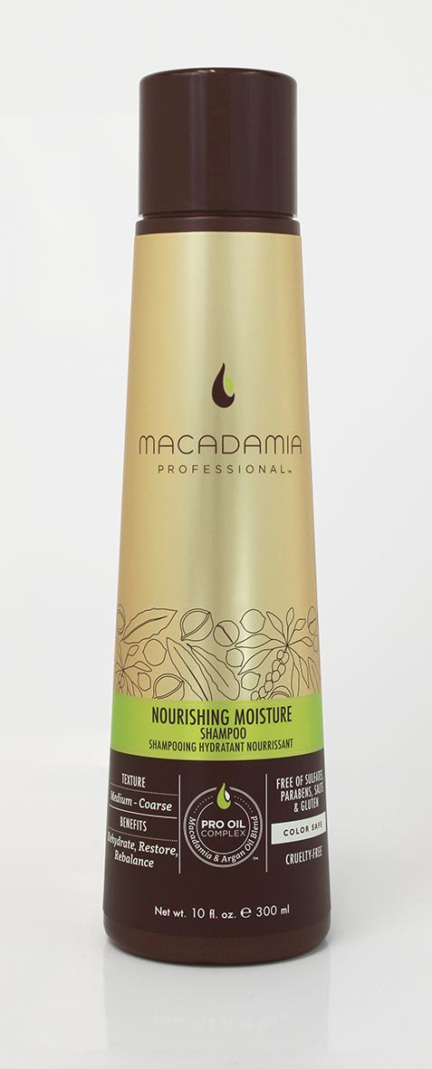 Macadamia Professional Шампунь питательный для всех типов волос, 300 мл91327Шампунь Macadamia Professional обеспечивает сбалансированное питание, восстанавливает баланс влажности нормальных и сухих волос. Эксклюзивный комплекс Pro Oil Complex с маслами макадамии и арганы дает увлажнение, укрепление и восстановление волос. Масла авокадо, лесного ореха и витамины А, С, Е обеспечивают антивозрастной уход. Применение шампуня защищает волосы от воздействия неблагоприятных факторов окружающей среды.