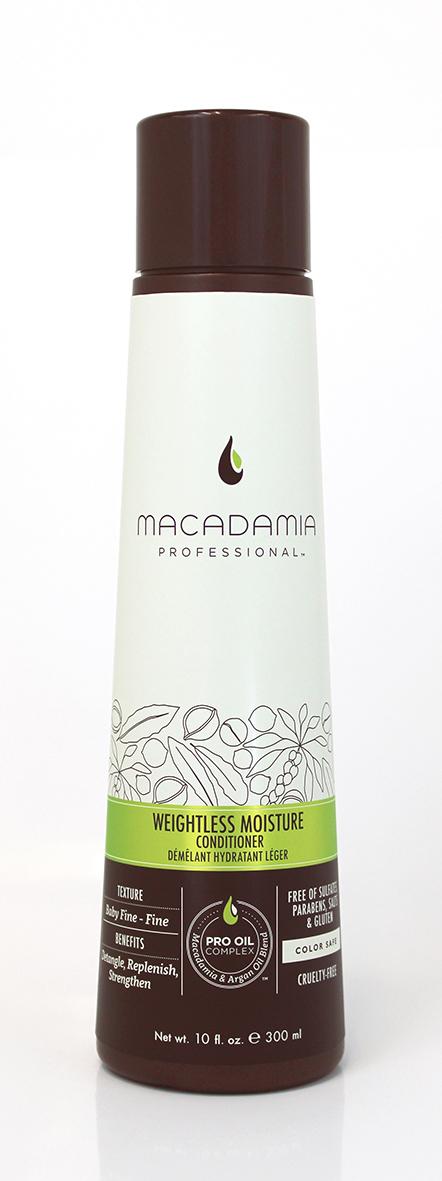 Macadamia Professional Кондиционер увлажняющий для тонких волос, 300 мл200100Ультра легкая формула кондиционера Macadamia Professional не утяжеляет тонкие волосы. Эксклюзивный комплекс Pro Oil Complex с маслами макадамии и арганы придает гладкость, плотность и объем тонким волосам. Насыщен питательными маслами авокадо, грецкого ореха, обеспечивает шелковистость, мягкость, блеск и защиту от негативного действия УФ-лучей.Сочетание коллагена и витаминов А, С и Е придает волосам прочность.