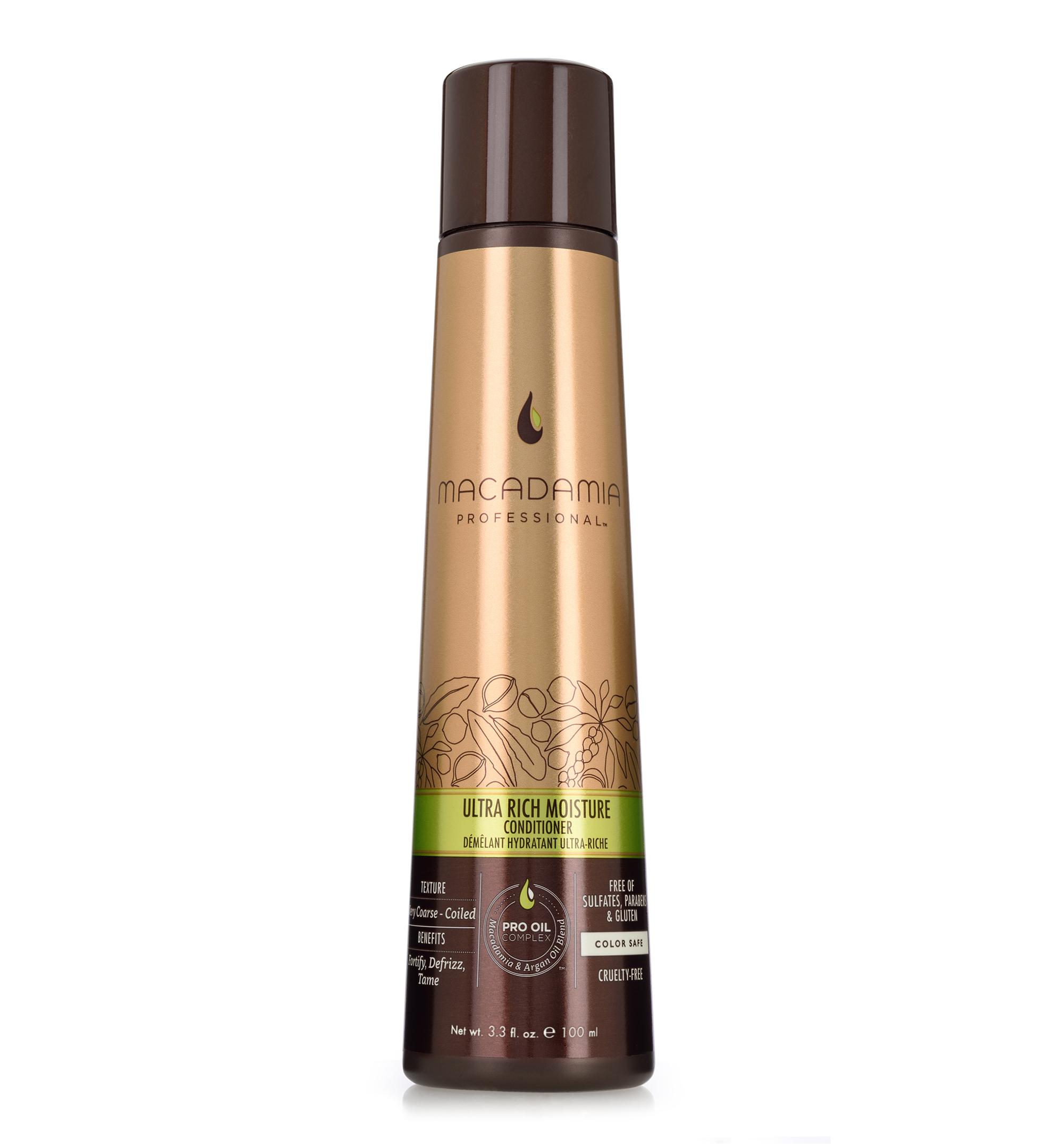 Macadamia Professional Кондиционер увлажняющий для жестких волос, 100 мл200301Сочетание эксклюзивного комплекса Pro Oil Complex, масел авокадо и монгонго в увлажняющем кондиционере Macadamia Professional обеспечивает интенсивное восстановление и увлажнение волос, устраняет эффект пушистости и подчеркивает естественную форму локонов и текстуру волос.Сочетание аминокислот шелка, витаминов A, C и E укрепляет волосы и придает эластичность. Обеспечивает защиту от действия УФ-лучей и неблагоприятных факторов окружающей среды.