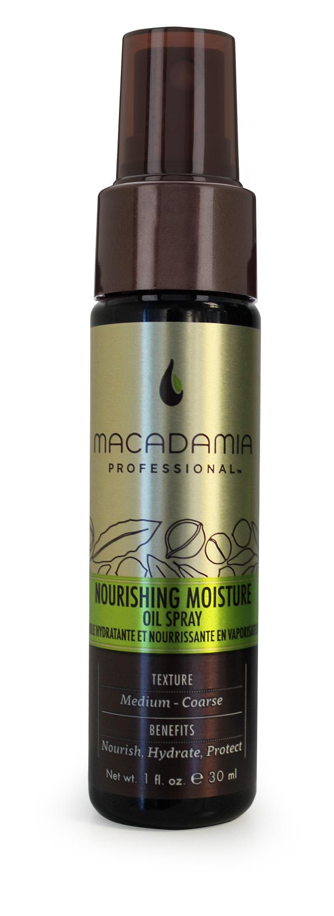 Macadamia Professional Уход масло-спрей увлажняющий, 30 мл400201Невесомый уход Macadamia Professional в виде спрея c ультратонким распылением содержит эксклюзивный Pro Oil Complex, мгновенно впитывается в волосы, защищает их, придает мягкость и блеск. Витамин Е увлажняет и обеспечивает длительную гладкость, предохраняет волосы от спутывания, устраняя эффект пушистости.Обеспечивает натуральную УФ-защиту и сохранение цвета окрашенных волос.