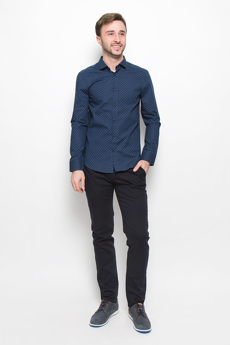 Рубашка мужская Mexx, цвет: темно-синий. MX3025568. Размер M (48) платье mexx цвет черный mx3024426 wm drs 008 размер m 46 48