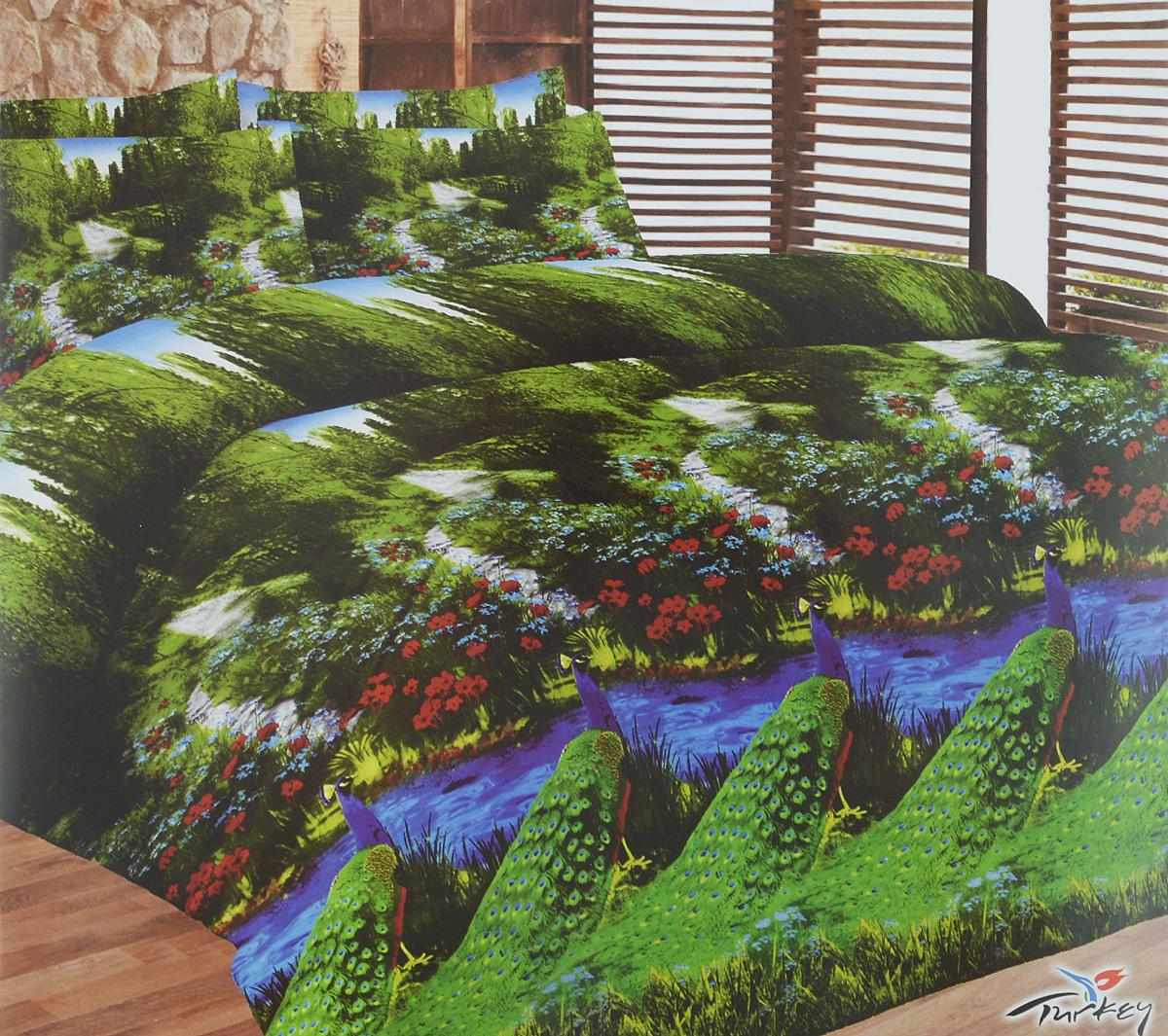 Комплект белья Liya Home Collection Павлин, семейный, наволочки 70x70 комплект белья liya home collection виктория семейный наволочки 70x70