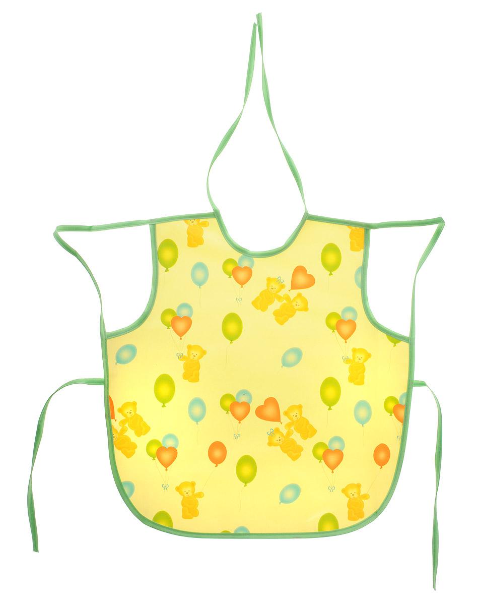 Колорит Фартук Мишки с шариками цвет желтый зеленый 36 х 38 см