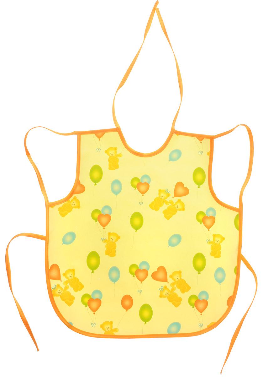 Колорит Фартук Мишки с шариками цвет желтый оранжевый 36 х 38 см