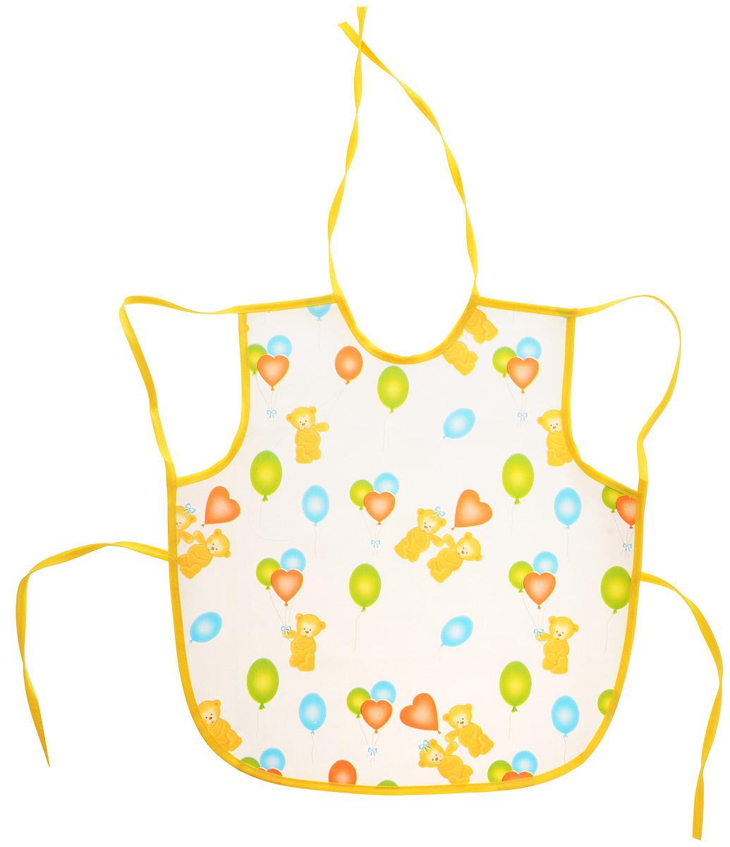 Колорит Фартук Мишки с шариками цвет белый желтый 36 х 38 см