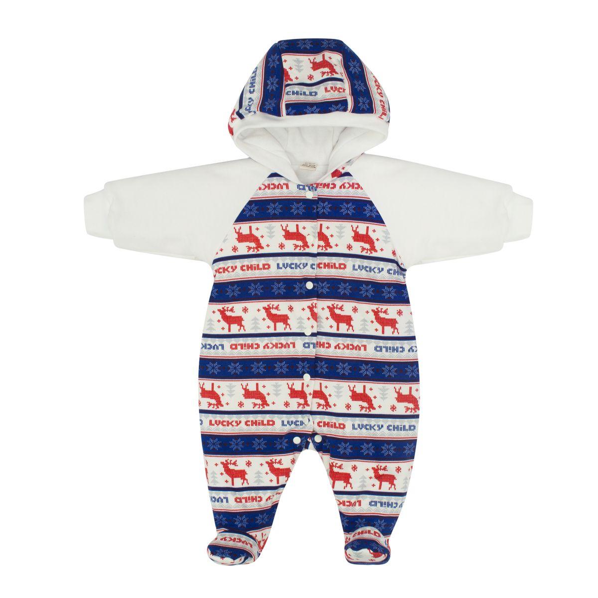 Комбинезон детский Lucky Child Скандинавия, цвет: белый, синий, красный. 10-70. Размер 74/80 комбинезон lucky child ангелочки розовый размер 24 74 80