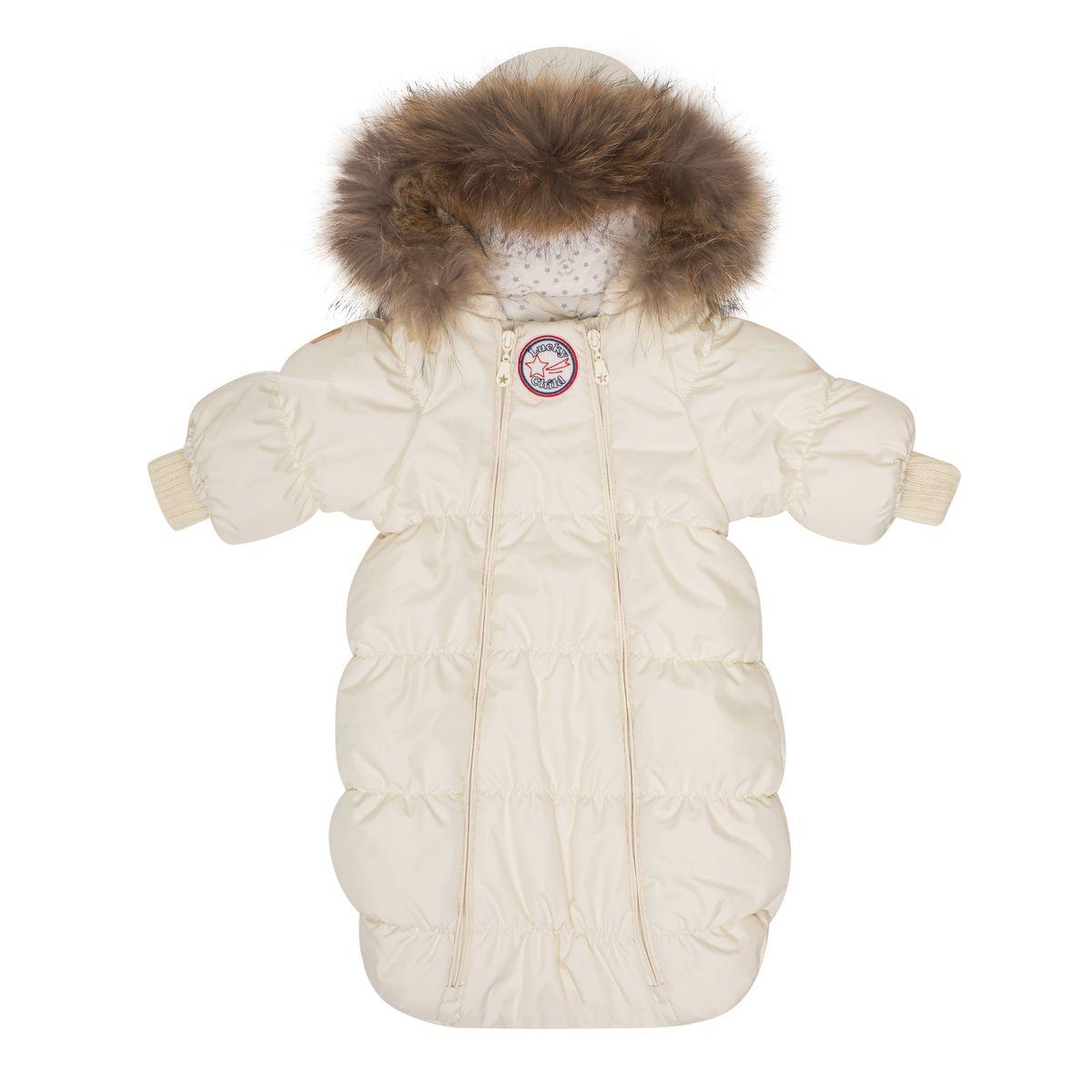 Комбинезон-конверт детский Lucky Child, цвет: молочный. В1-1. Размер 56/62В1-1Если вы ожидаете появления малыша этой зимой, то первая вещь, которая вам понадобится, - это уютный комбинезон-конверт. Благодаря лёгкому и тёплому наполнителю Isosoft, он согреет вашего кроху во время зимних прогулок. Трикотажная подкладка с воздухопроницаемыми и водоотводными свойствами не позволит ему вспотеть, даже если малыш проспит на улице три часа. Подходит для прогулок при при температуре до -30°. Ручки младенца можно легко спрятать в отворачивающуюся варежку. Капюшон оторочен натуральным мехом енота. Удобная двойная молния позволяет легко одеть и раздеть ребёнка или просто поменять подгузник и продолжить прогулку.