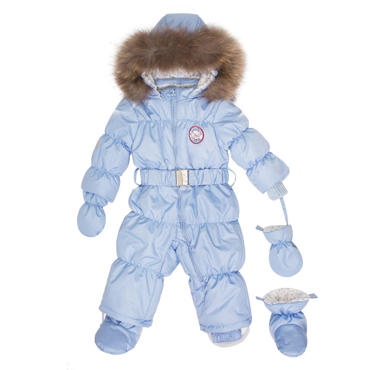 Комбинезон для мальчика Lucky Child, цвет: голубой. В1-3. Размер 68В1-3Этой зимой вашему малышу предстоит впервые увидеть снег? Подберите для этого важного знакомства удобный и тёплый комбинезон Lucky Child! Он выполнен из курточной ткани с влагостойкой пропиткой, а значит, не промокнет, даже если Ваша кроха, знакомясь со снегом, решит нырнуть в сугроб. Наполнитель – лёгкий и тёплый Isosoft, который позволит ребёнку не мёрзнуть при температуре до -30° и при этом вести активную деятельность во время прогулки. Трикотажная подкладка (кулирка) обладает воздухопроницаемыми и водоотводными свойствами, что очень важно, если малыш вспотеет. Капюшон оторочен натуральным мехом енота. Ножки и ручки малыша утеплят отстёгивающиеся варежки и сапожки.