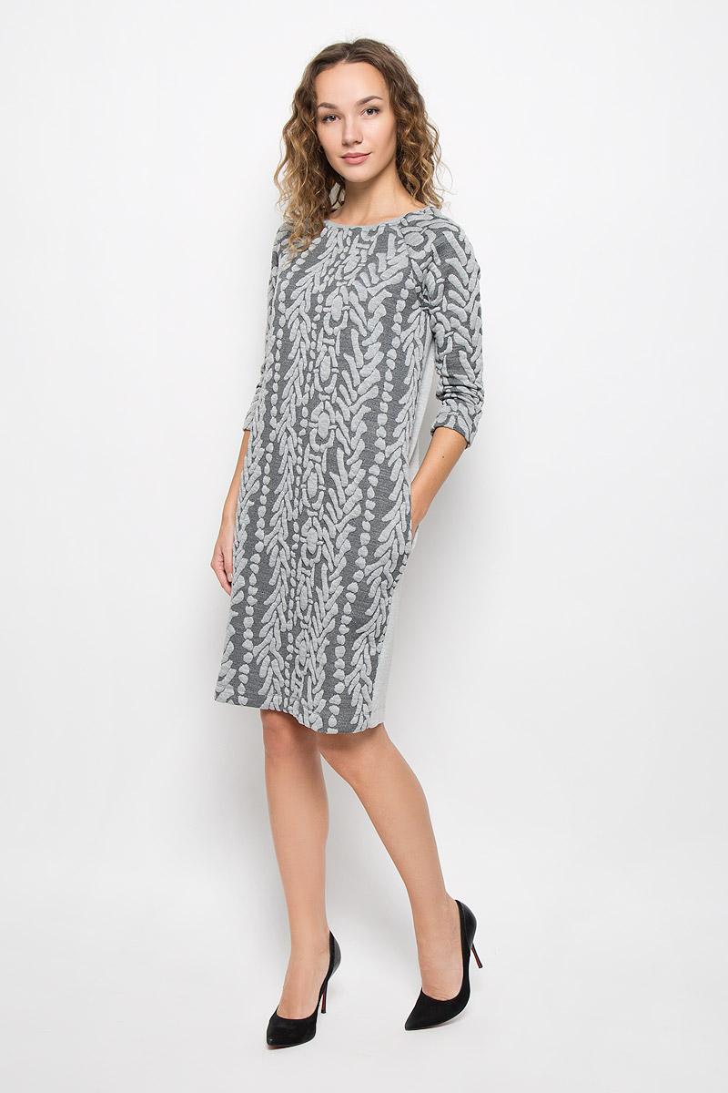 Платье Mexx, цвет: серый. MX3026211_WM_DRS_009. Размер S (42/44)MX3026211_WM_DRS_009_162Стильное платье Mexx выполнено из высококачественного комбинированного материала. Модель средней длины с круглым вырезом горловины и рукавами-реглан спереди выполнено из фактурного приятного материала. Платье на спинке имеет застежку молнию, по бокам оно дополнено двумя прорезными карманами. Вырез горловины дополнен трикотажной резинкой.