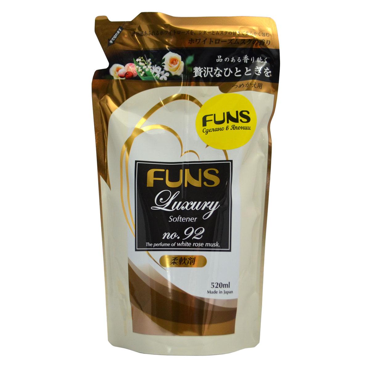 Кондиционер парфюмированный для белья Funs, с ароматом белой мускусной розы, 520 мл10056Сильноконцентрированный кондиционер для белья Funs придаст вашим вещам мягкость и сделает их приятными наощупь.Подходит для хлопчатобумажных, шерстяных, льняных и синтетических тканей, а также любых деликатных тканей (шелка и шерсти).Кондиционер предотвращает появление статического электричества, а также облегчает глажку белья.Обладает приятным ароматом, который сохраняется на долгое время, даже после сушки белья.Благодаря противомикробному и дезодорирующему действию кондиционер устраняет бактерии, способствующие появлению неприятного запаха.Кондиционер безопасен при контакте с кожей человека, не сушит и не раздражает кожу рук во время стирки.Подходит как для ручной, так и машинной стирки.Норма использования:Вес белья Объем воды Объем кондиционера6.0 кг 65 л 40 мл4.5 кг 60 л 30 мл3.0 кг 45 л 20 мл1.5 кг 30 л 10 млРучная стиркавес белья 0.5 кг 3.3 млСпособ применения: применяйте кондиционер только после стирки белья при полоскании чистой водой. На 1 кг одежды используйте 7 мл средства. При ручной стирке рекомендуется полоскать в течение 3 минут.