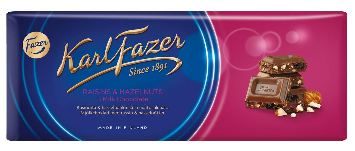 Karl Fazer Молочный шоколад с изюмом и фундуком, 200 г5719Прекрасное сочетание орехов и изюма в молочном шоколаде Karl Fazer.Уважаемые клиенты! Обращаем ваше внимание, что полный перечень состава продукта представлен на дополнительном изображении.