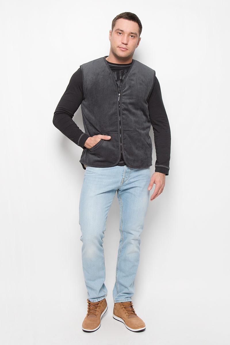 Жилет мужской Holty Лидер, цвет: темно-серый. 020157.1-0206. Размер XXL (56) пуловер мужской karff цвет синий бордовый черный 88004 01 размер xxl 56
