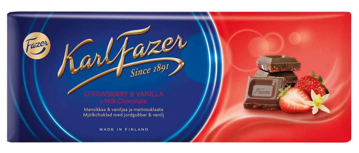 Karl Fazer Молочный шоколад с клубникой, 190 г5814Любителей побаловать себя сладостями привлечет большая плитка шоколада Karl Fazer. Попробуйте 190 граммов удовольствия и блаженства, которые вы можете испытать как в одиночку, так и поделиться с друзьями и близкими.Шоколад является обладателем оригинального молочного вкуса, которого удалось добиться благодаря смешиванию в оптимальных пропорциях отборного какао и молока. Кусочки сушеной клубники не только являются украшением сладости, но и придают ему своеобразный вкус и аромат. Благодаря оптимальному сочетанию ингредиентов, молочный шоколад идеально подходит как к чаю и кофе, так и к соку и вину.