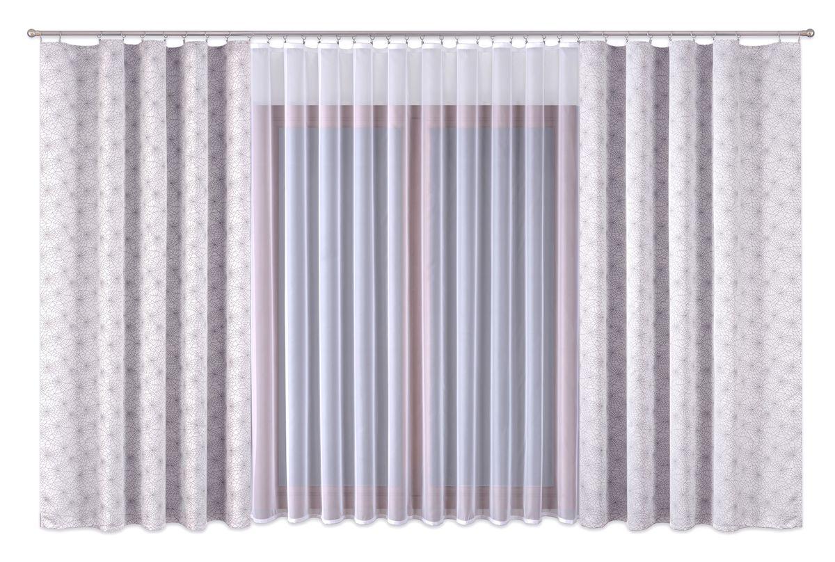 Комплект штор P Primavera Firany, на ленте, цвет: серый, белый, высота 280 см. 11100061110006Роскошный комплект штор P Primavera Firany, выполненный из полиэстровой жаккардовой ткани, великолепно украсит любое окно. Комплект состоит из двух штор серого цвета и белого тюля с пришитой шторной лентой. Изящный рисунок и приятная цветовая гамма привлекут к себе внимание и органично впишутся в интерьер помещения.Этот комплект будет долгое время радовать вас и вашу семью!