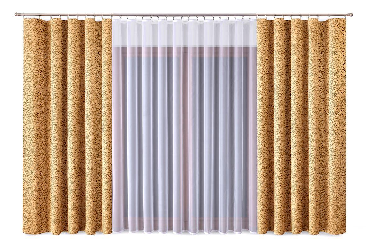 Комплект штор P Primavera Firany, цвет: золотистый, белый, высота 270 см. 1110011 primavera