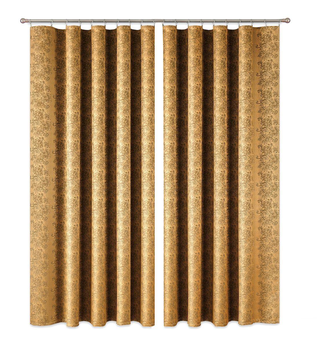 Комплект штор P Primavera Firany, на ленте, цвет: золотистый, высота 270 см. 11100151110015Роскошный комплект штор P Primavera Firany, выполненный из полиэстровой жаккардовой ткани, великолепно украсит любое окно. Комплект состоит из двух штор с пришитой шторной лентой. Изящный рисунок и приятная цветовая гамма привлекут к себе внимание и органично впишутся в интерьер помещения.Этот комплект будет долгое время радовать вас и вашу семью!