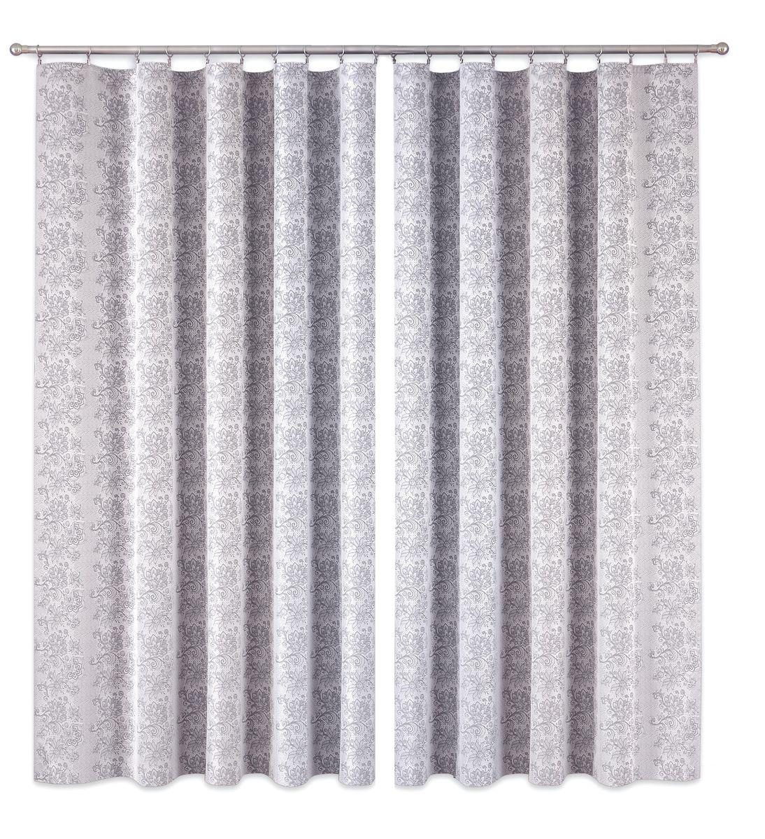 Комплект штор P Primavera Firany, цвет: серый, высота 260 см. 11100161110016Комплект шториз полиэстровой жаккардовой ткани с пришитой шторнойлентой. Размер - ширина 180 см высота 260см. Набор 2 штуки. Цвет серый.Размер: ширина 180 х высота 260