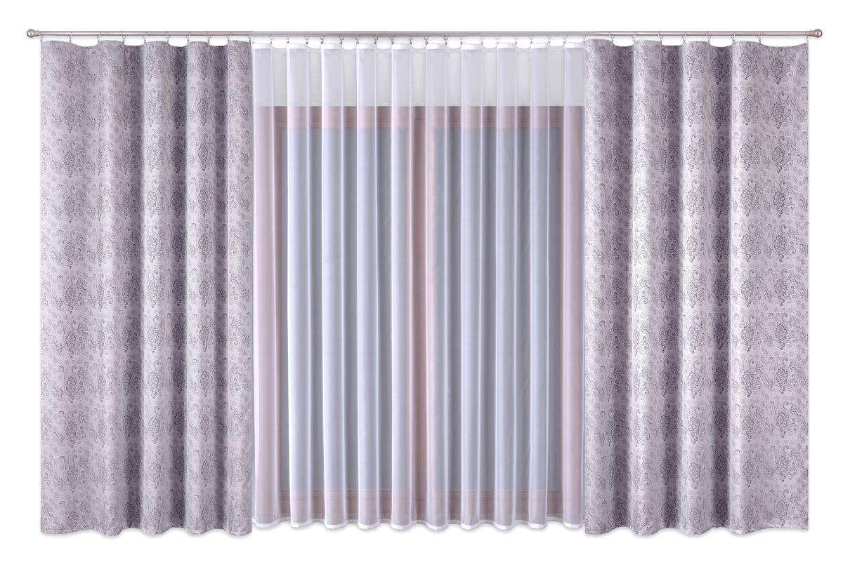 Комплект штор P Primavera Firany, на ленте, цвет: серый, белый, высота 260 см. 11100251110025Роскошный комплект штор P Primavera Firany, выполненный из полиэстровой жаккардовой ткани, великолепно украсит любое окно. Комплект состоит из двух штор серого цвета и белого тюля с пришитой шторной лентой. Изящный рисунок и приятная цветовая гамма привлекут к себе внимание и органично впишутся в интерьер помещения.Этот комплект будет долгое время радовать вас и вашу семью!