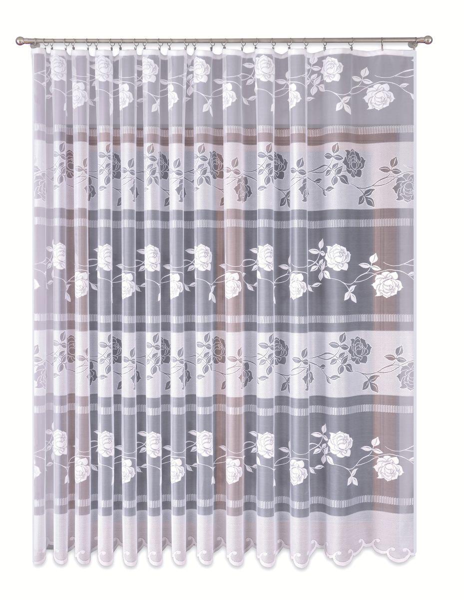 Тюль P Primavera Firany, на ленте, цвет: белый, высота 280 см. 11101491110149Тюль P Primavera Firany нежного цвета изготовлена из вуали и жаккарда. Полупрозрачная ткань, приятный цвет привлекут к себе внимание и органично впишутся в интерьер помещения. Крепление к карнизу осуществляется при помощи вшитой шторной ленты, которая поможет красиво и равномерно задрапировать верх.