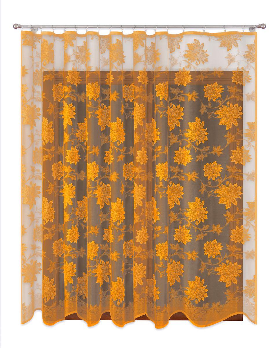 Тюль P Primavera Firany, цвет: золотистый, высота 280 см. 11101591110159Тюль жаккардовая с пришитойшторной лентой. Размер: ширина400см высота 280см. Цвет золото.Размер: ширина 400 х высота 280