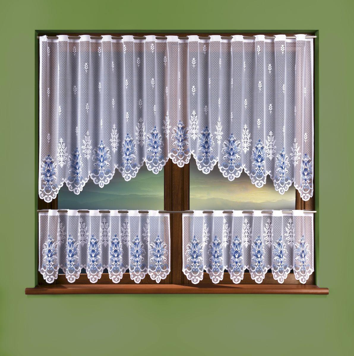 Комплект штор для кухни Wisan, цвет: белый, высота 15 см, 100 см. 33243324Комплект для кухни: высота 100х ширина 250 + высота 45х ширина 125 2 штуки, крепление на штангу.Размер: высота 100 x ширина 250 + (высота 45 x ширина 125) x 2