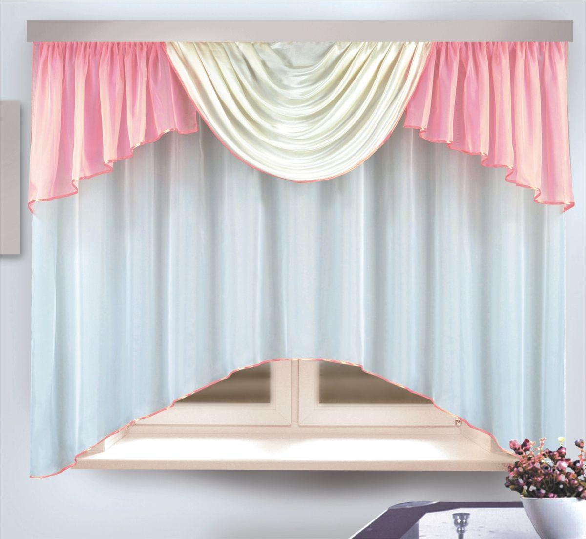 Комплект штор для кухни Zlata Korunka, на ленте, цвет: розовый, высота 170 см. 333312333312Комплект штор для кухни Zlata Korunka, выполненный из полиэстера, великолепно украсит любое окно. Комплект состоит из тюля и ламбрекена. Оригинальный крой и приятная цветовая гамма привлекут к себе внимание и органично впишутся в интерьер помещения. Этот комплект будет долгое время радовать вас и вашу семью!Комплект крепится на карниз при помощи ленты, которая поможет красиво и равномерно задрапировать верх.В комплект входит: Тюль: 1 шт. Размер (Ш х В): 290 х 170 см.Ламбрекен: 1 шт. Размер (Ш х В): 450 х 80 см.