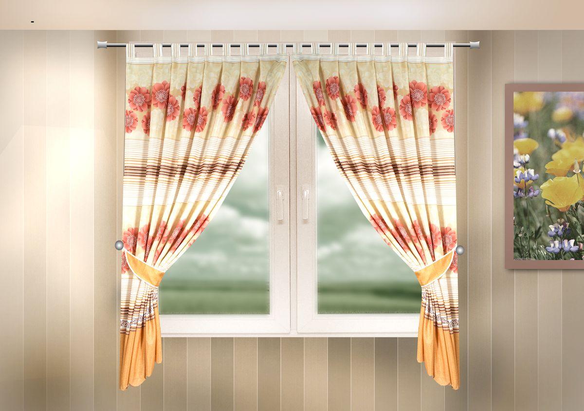 Комплект штор для кухни Zlata Korunka, на петлях, цвет: оранжевый, высота 170 см. 333319333319Комплект штор для кухни Zlata Korunka, выполненный из полиэстера, великолепно украсит любое окно. Комплект состоит из 2 штор и 2 подхватов. Цветочный рисунок и приятная цветовая гамма привлекут к себе внимание и органично впишутся в интерьер помещения. Этот комплект будет долгое время радовать вас и вашу семью!Комплект крепится на карниз при помощи петель.В комплект входит: Штора: 2 шт. Размер (Ш х В): 140 х 170 см.Подхват: 2 шт.