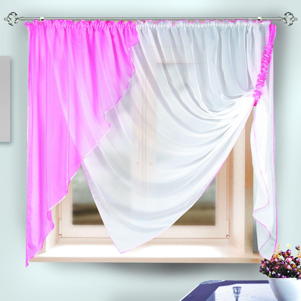 Комплект штор для кухни Zlata Korunka, на ленте, цвет: розовый, высота 170 см. 33332 zlata korunka женские платки носовые 3 шт