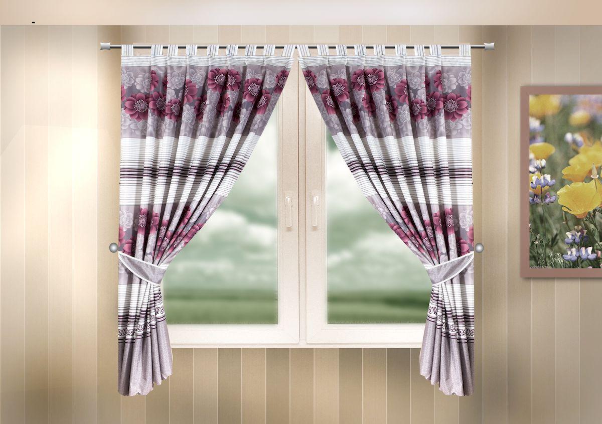 Комплект штор для кухни Zlata Korunka, на петлях, цвет: сиреневый, высота 170 см. 333320333320Комплект штор для кухни Zlata Korunka, выполненный из полиэстера, великолепно украсит любое окно. Комплект состоит из 2 штор и 2 подхватов. Цветочный рисунок и приятная цветовая гамма привлекут к себе внимание и органично впишутся в интерьер помещения. Этот комплект будет долгое время радовать вас и вашу семью!Комплект крепится на карниз при помощи петель.В комплект входит: Штора: 2 шт. Размер (Ш х В): 140 х 170 см.Подхват: 2 шт.