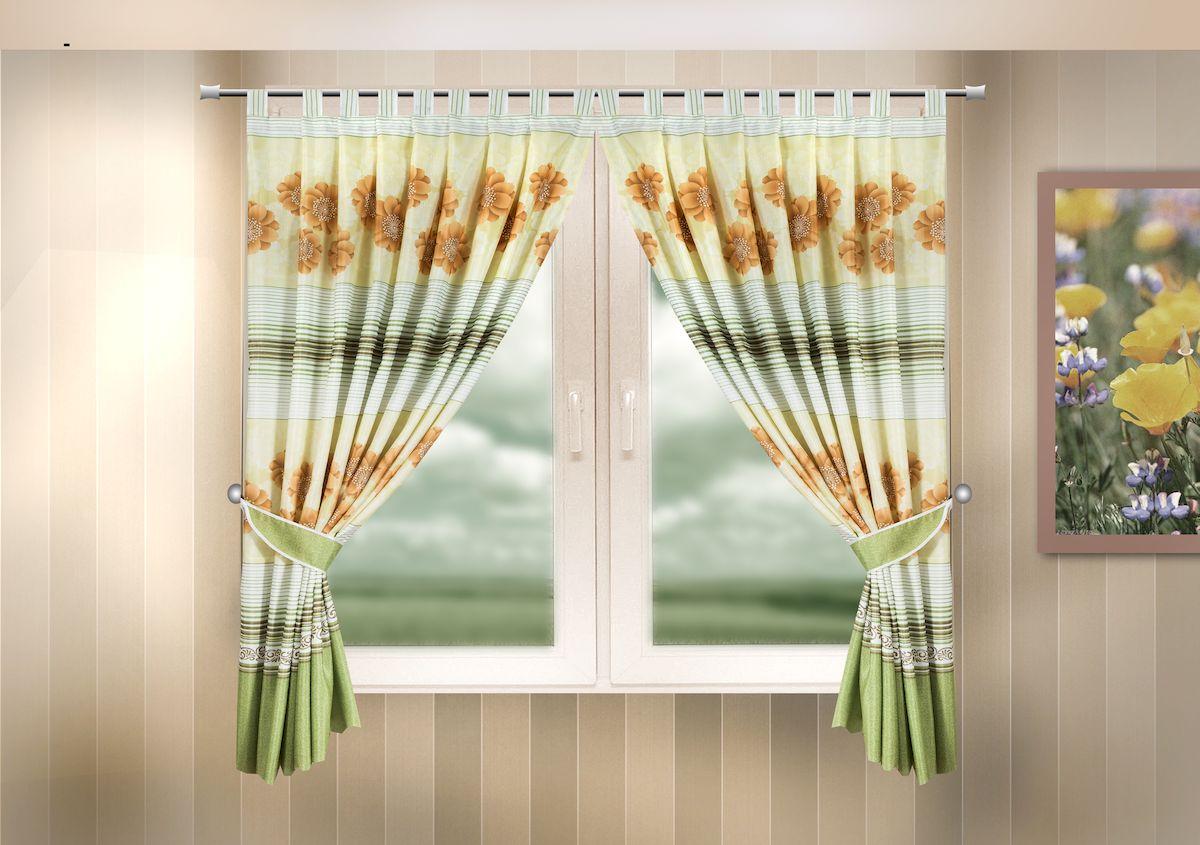 Комплект штор для кухни Zlata Korunka, на петлях, цвет: зеленый, высота 170 см. 333321333321Комплект штор для кухни Zlata Korunka, выполненный из полиэстера, великолепно украсит любое окно. Комплект состоит из 2 штор и 2 подхватов. Цветочный рисунок и приятная цветовая гамма привлекут к себе внимание и органично впишутся в интерьер помещения. Этот комплект будет долгое время радовать вас и вашу семью!Комплект крепится на карниз при помощи петель.В комплект входит: Штора: 2 шт. Размер (Ш х В): 140 х 170 см.Подхват: 2 шт.