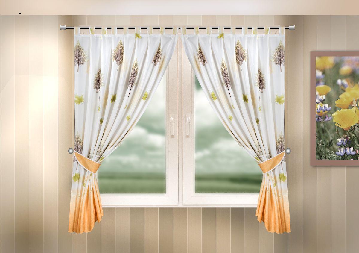 Комплект штор для кухни Zlata Korunka, на петлях, цвет: оранжевый, высота 170 см. 333324333324Комплект штор для кухни Zlata Korunka, выполненный из полиэстера, великолепно украсит любое окно. Комплект состоит из 2 штор и 2 подхватов. Оригинальный рисунок и приятная цветовая гамма привлекут к себе внимание и органично впишутся в интерьер помещения. Этот комплект будет долгое время радовать вас и вашу семью!Комплект крепится на карниз при помощи петель.В комплект входит: Штора: 2 шт. Размер (Ш х В): 140 х 170 см.Подхват: 2 шт.