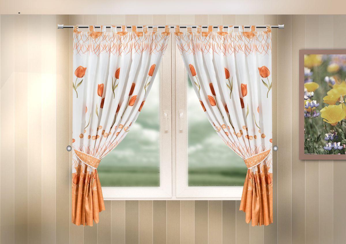 Комплект штор для кухни Zlata Korunka, на петлях, цвет: оранжевый, высота 170 см. 333325333325Комплект штор для кухни Zlata Korunka, выполненный из полиэстера, великолепно украсит любое окно. Комплект состоит из 2 штор и 2 подхватов. Оригинальный рисунок и приятная цветовая гамма привлекут к себе внимание и органично впишутся в интерьер помещения. Этот комплект будет долгое время радовать вас и вашу семью!Комплект крепится на карниз при помощи петель.В комплект входит: Штора: 2 шт. Размер (Ш х В): 140 х 170 см.Подхват: 2 шт.